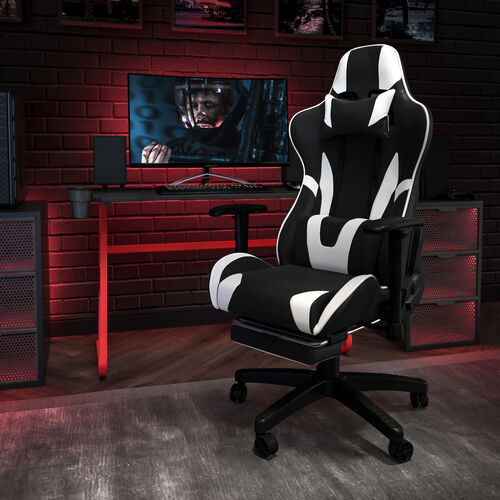 Gaming Desk and Footrest Reclining Gaming Chair Set with Cup Holder and Headphone Hook