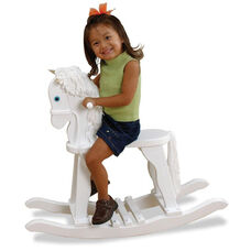 Heirloom Quality Kids Wooden Anti-Tip Derby Rocking Horse - White