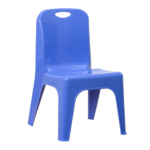 Our Blue Plastic Stackable School Chair with Carrying Handle and 11