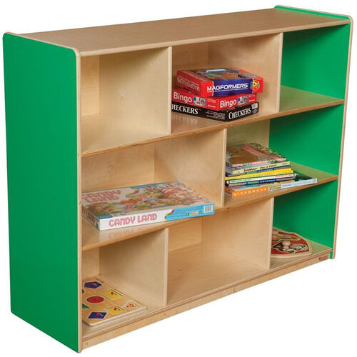 Our Wooden 8 Compartment Single Mobile Storage Unit - Green Apple - 48