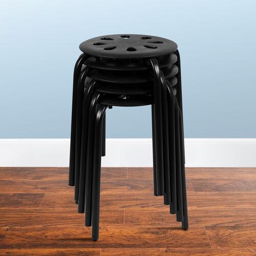 "Plastic Nesting Stack Stools, 17.5""Height, Black (5 Pack)"