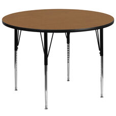 60'' Round Oak Thermal Laminate Activity Table - Standard Height Adjustable Legs