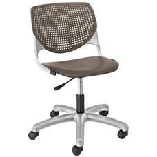 TK2300 KOOL Series Poly Armless Task Chair with Perforated Back and Silver Frame - Brownstone