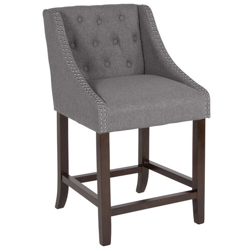 """Our Carmel Series 24"""" High Transitional Tufted Walnut Counter Height Stool with Accent Nail Trim in Dark Gray Fabric is on sale now."""