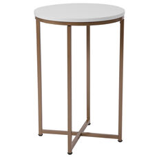 Hampstead Collection White End Table with Matte Gold Frame