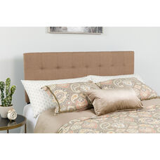 Bedford Tufted Upholstered King Size Headboard in Camel Fabric