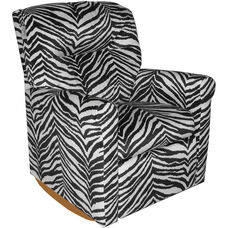 Kids Contemporary Upholstered Rocker Recliner with Tufted Back - Zebra
