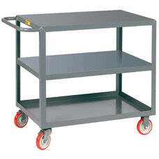 Welded Service Cart With 3 Flush Shelves