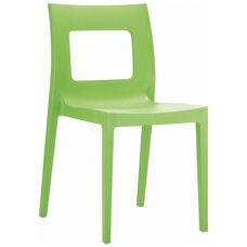 Lucca Contemporary Resin Stackable Dining Chair with Square Back - Tropical Green