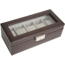 5 Slot Watch Display Case - Genuine Leather - Brown