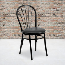 Metal Fan Back Bistro Chair with Black Vinyl Seat