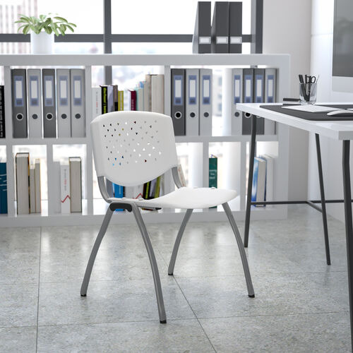 HERCULES Series 880 lb. Capacity White Plastic Stack Chair with Titanium Gray Powder Coated Frame