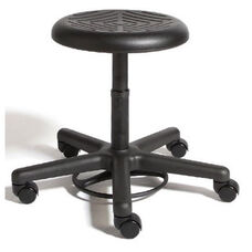 Rhino Foot Activated Desk Height Stool with Urethane Seat - Black