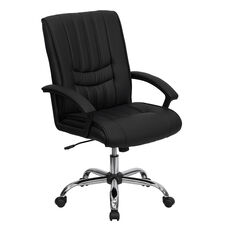 Mid-Back Black Leather Swivel Manager