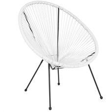 Valencia Oval Comfort Series Take Ten White Rattan Lounge Chair