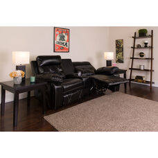 Reel Comfort Series 2-Seat Reclining Black LeatherSoft Theater Seating Unit with Curved Cup Holders
