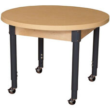 Mobile Round High Pressure Laminate Table with Adjustable Steel Legs - 36