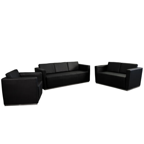 "Our HERCULES Trinity Series Reception Set in Black LeatherSoft with <span style=""color:#0000CD;"">Free </span> Tables is on sale now."