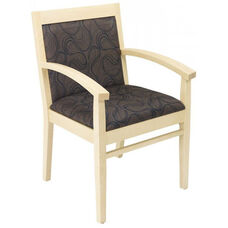 Tea Indoor Office Chair with Cocoa Pattern Fabric Seat and Back - Natural Wood Finish