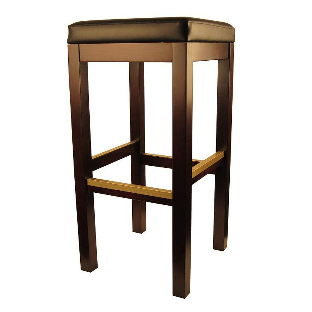 Our backless dark walnut finish wood barstool with black vinyl seat is on sale now