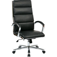 Work Smart High Back Executive Faux Leather Chair with Polished Chrome Finish and Padded Arms - Black