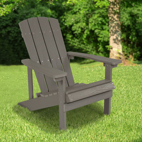 Our Charlestown All-Weather Adirondack Chair in Light Gray Faux Wood is on sale now.