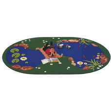 The Pond with Bridge Outdoor Look Reading Oval Nylon Rug - 53