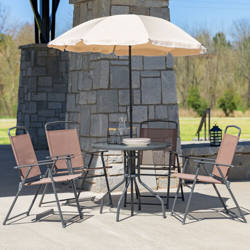 Our Nantucket 6 Piece Brown Patio Garden Set with Table, Tan Umbrella and 4 Folding Chairs is on sale now.