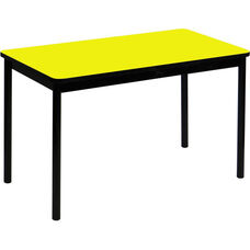 High Pressure Laminate Rectangular Lab Table with Black Base and T-Mold - Yellow Top - 24