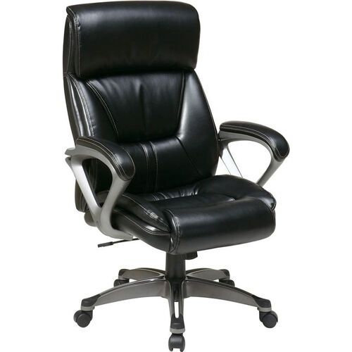 Our Work Smart ECH89307 Executive Eco Leather Chair with Padded Arms and Titanium Coated Base - Black is on sale now.