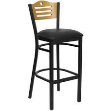 Black Slat Back Metal Restaurant Barstool with Natural Wood Back & Black Vinyl Seat