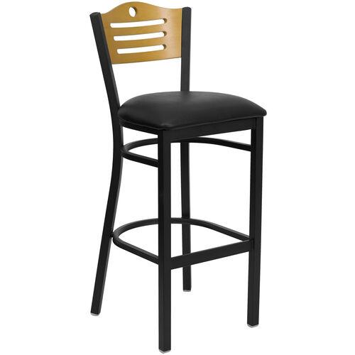 Our Black Slat Back Metal Restaurant Barstool with Natural Wood Back & Black Vinyl Seat is on sale now.