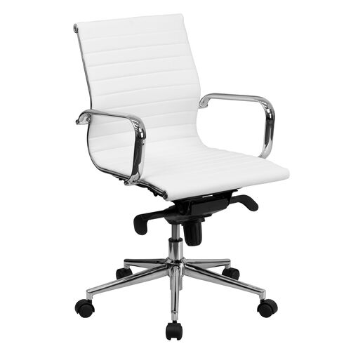 Our Mid-Back White Ribbed LeatherSoft Swivel Conference Office Chair with Knee-Tilt Control and Arms is on sale now.
