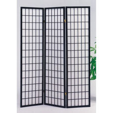 Naomi Decorative Room Divider with Pine Frame and 3 Fabric Panels - Black