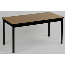 High Pressure Laminate Rectangular Library Table with Black Base and T-Mold - Medium Oak Top - 36