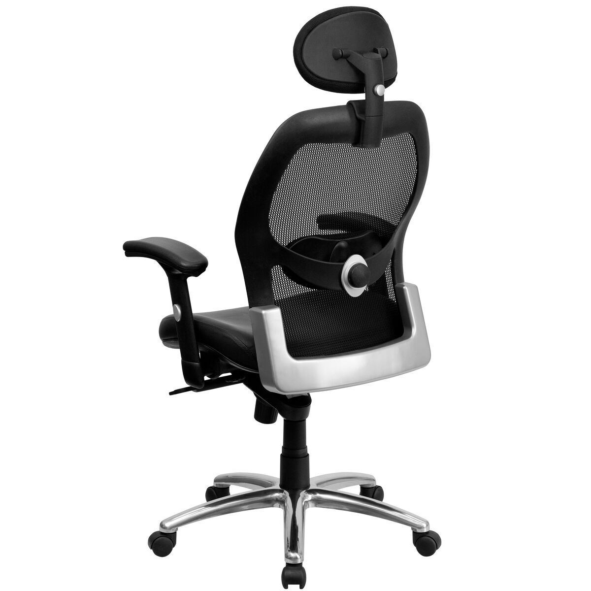 Black Mid Back Leather Chair Lf W42 L Hr Gg Bizchair Com