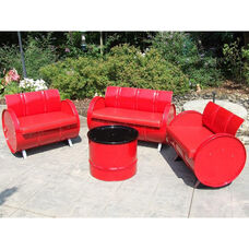 Very Red Steel Drum 4 Piece Conversation Set with Red Accents