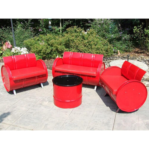Our Very Red Steel Drum 4 Piece Conversation Set with Red Accents is on sale now.