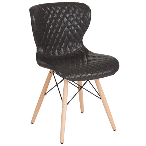 Our Riverside Contemporary Upholstered Chair with Wooden Legs in Gray Vinyl is on sale now.