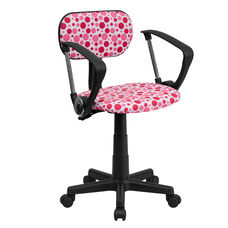 Pink Dot Printed Swivel Task Office Chair with Arms