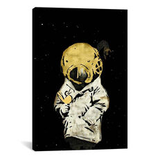 Space Girl and Bird II in Gold by 5by5collective Gallery Wrapped Canvas Artwork