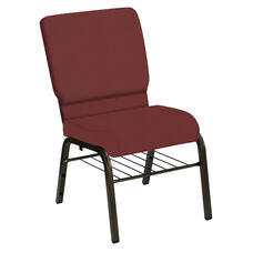 Embroidered HERCULES Series 18.5''W Church Chair in E-Z Oxen Maroon Vinyl with Book Rack - Gold Vein Frame