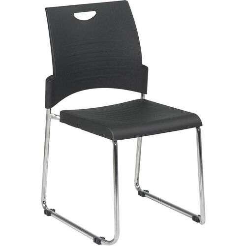 Our Work Smart Chrome Frame Sled Base and Plastic Stack Chair - Set of 2 is on sale now.