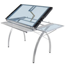 Futura Blue Tempered Glass and Steel Craft Station with Folding Shelf - Silver