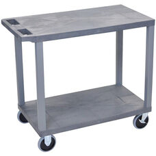 Molded Thermoplastic Resin 2 Flat Shelf Utility Cart with Flat Top Shelf and 5