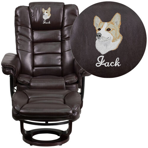 Our Embroidered Contemporary Multi-Position Horizontal Stitched Recliner and Ottoman with Swivel Mahogany Wood Base in Brown Leather is on sale now.