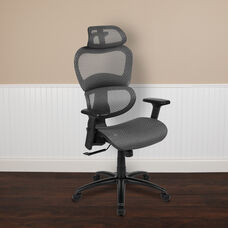 Ergonomic Mesh Office Chair with 2-to-1 Synchro-Tilt, Adjustable Headrest, Lumbar Support, and Adjustable Pivot Arms in Gray