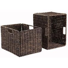 Granville Foldable Tall Corn Husk Baskets - Set of 2