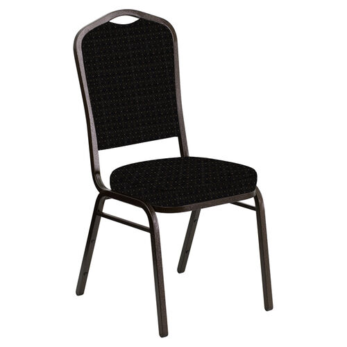 Embroidered Crown Back Banquet Chair in Jewel Onyx Fabric - Gold Vein Frame