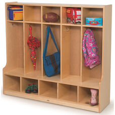 Kids 5 Section Seated Coat Locker with Hooks - 54
